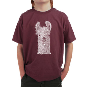 LA Pop Art Boy's Word Art T-shirt - Llama