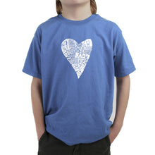 Load image into Gallery viewer, LA Pop Art Boy's Word Art T-shirt - Lots of Love
