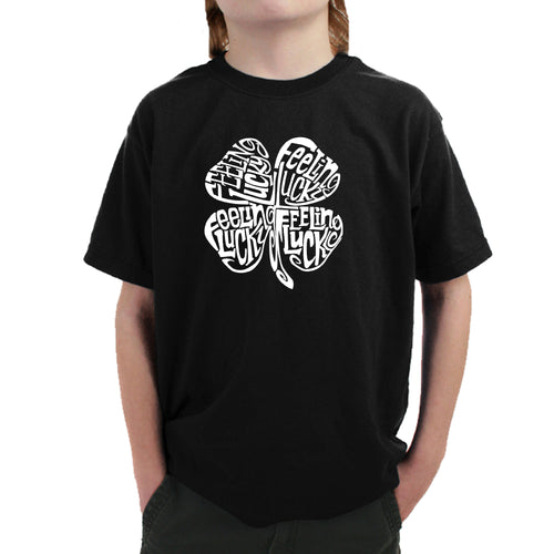 LA Pop Art Boy's Word Art T-shirt - Feeling Lucky