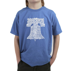 LA Pop Art  Boy's Word Art T-shirt - Liberty Bell