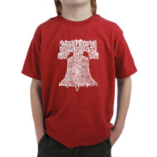 Load image into Gallery viewer, LA Pop Art  Boy's Word Art T-shirt - Liberty Bell