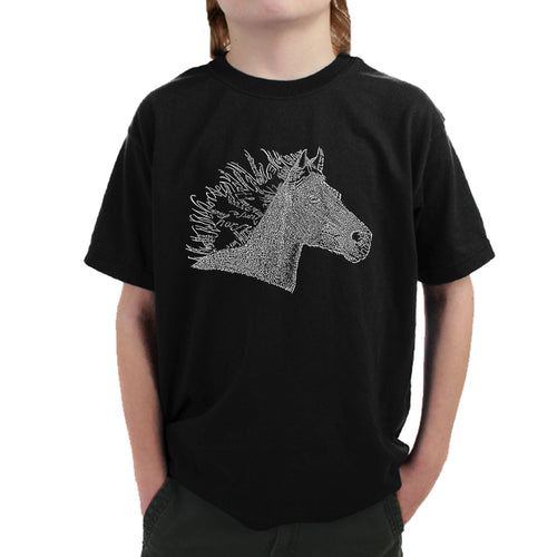 LA Pop Art Boy's Word Art T-shirt - Horse Mane