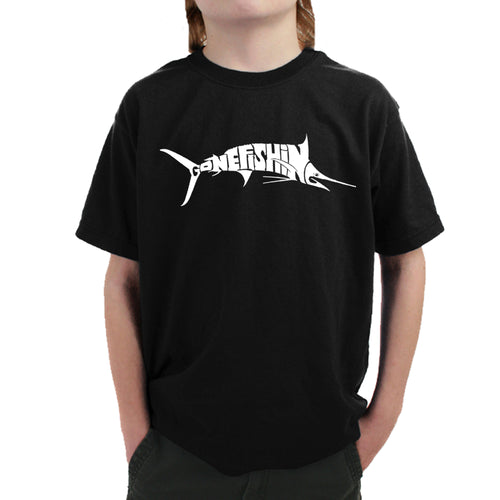 LA Pop Art Boy's Word Art T-shirt - Marlin - Gone Fishing
