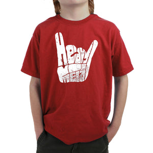 LA Pop Art Boy's Word Art T-shirt - Heavy Metal
