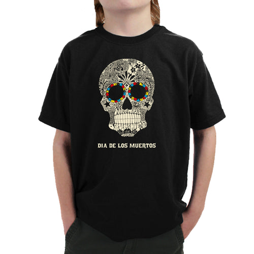 LA Pop Art Boy's Word Art T-shirt - Dia De Los Muertos