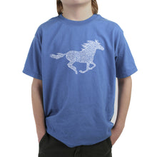 Load image into Gallery viewer, LA Pop Art Boy's Word Art T-shirt - Horse Breeds