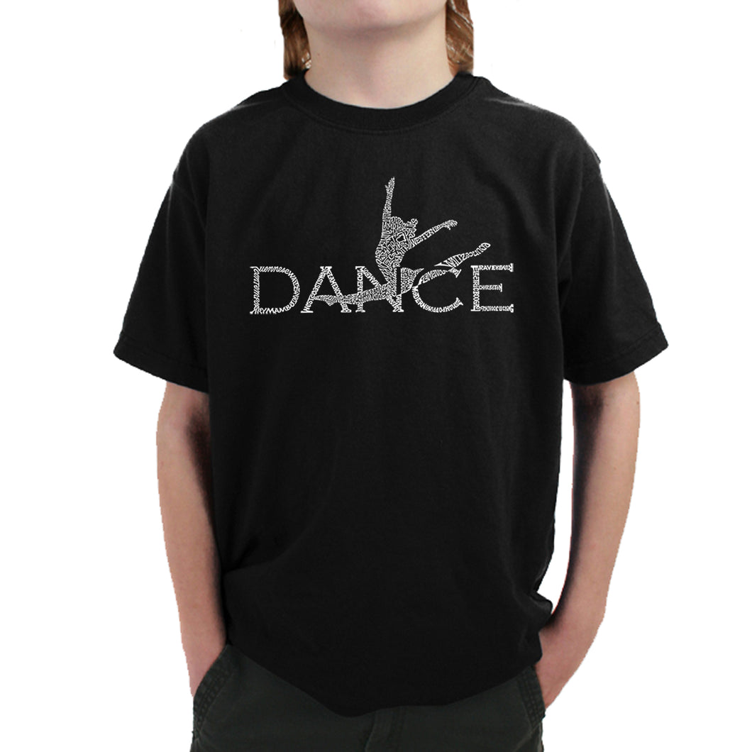 LA Pop Art Boy's Word Art T-shirt - Dancer