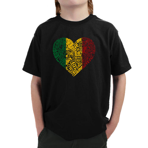 LA Pop Art  Boy's Word Art T-shirt - One Love Heart