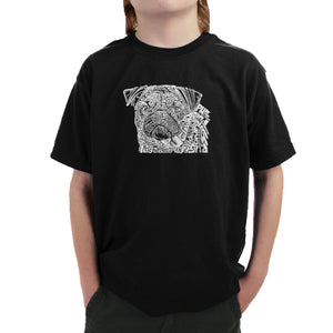 LA Pop Art Boy's Word Art T-shirt - Pug Face