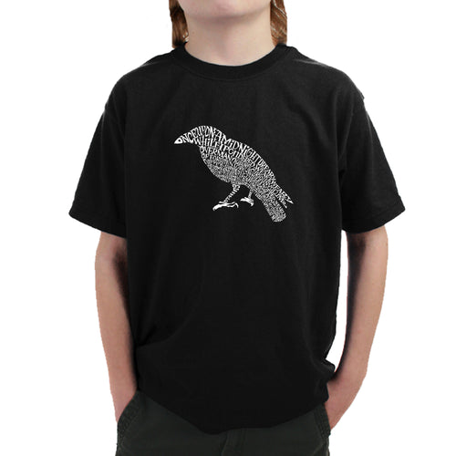 LA Pop Art Boy's Word Art T-shirt - Edgar Allan Poe's The Raven