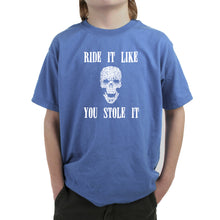 Load image into Gallery viewer, LA Pop Art Boy's Word Art T-shirt - Ride It Like You Stole It