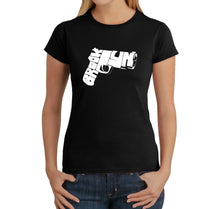 Load image into Gallery viewer, LA Pop Art Women's Word Art T-Shirt - BROOKLYN GUN