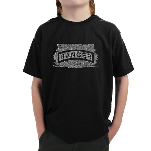 LA Pop Art Boy's Word Art T-shirt - The US Ranger Creed