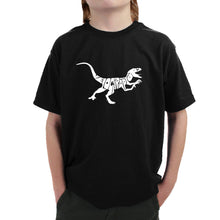 Load image into Gallery viewer, LA Pop Art Boy's Word Art T-shirt - Velociraptor