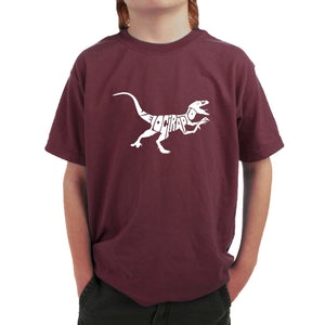LA Pop Art Boy's Word Art T-shirt - Velociraptor