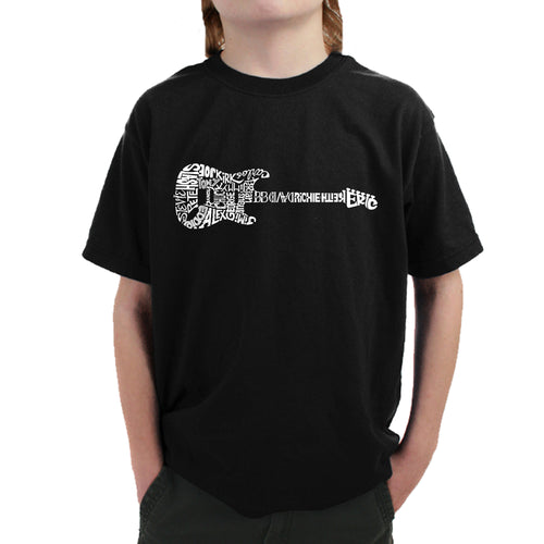 LA Pop Art  Boy's Word Art T-shirt - Rock Guitar