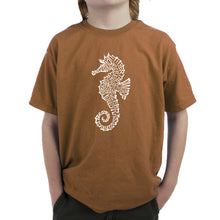 Load image into Gallery viewer, LA Pop Art Boy's Word Art T-shirt - Types of Seahorse