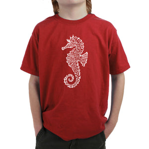 LA Pop Art Boy's Word Art T-shirt - Types of Seahorse