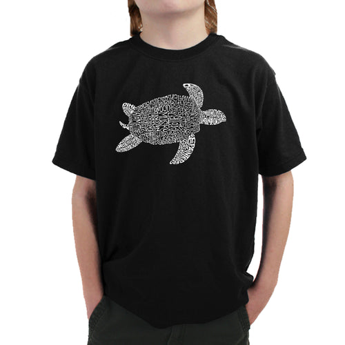 LA Pop Art Boy's Word Art T-shirt - Turtle