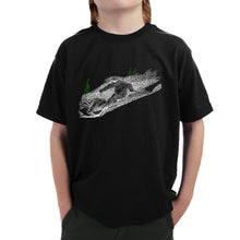 Load image into Gallery viewer, LA Pop Art Boy's Word Art T-shirt - Ski