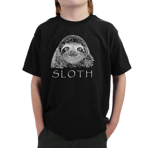 LA Pop Art Boy's Word Art T-shirt - Sloth