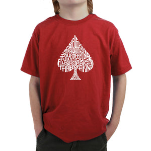LA Pop Art Boy's Word Art T-shirt - ORDER OF WINNING POKER HANDS