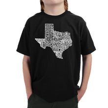 Load image into Gallery viewer, LA Pop Art Boy's Word Art T-shirt - The Great State of Texas