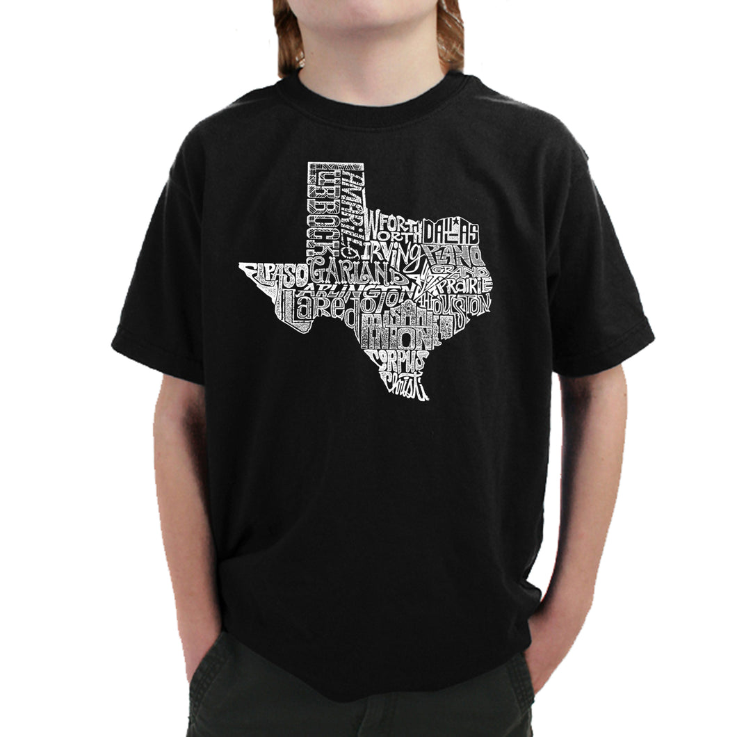 LA Pop Art Boy's Word Art T-shirt - The Great State of Texas
