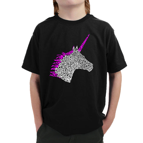 LA Pop Art Boy's Word Art T-shirt - Unicorn