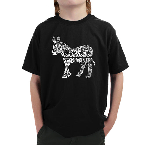 LA Pop Art Boy's Word Art T-shirt - I Vote Democrat