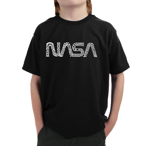 LA Pop Art Boy's Word Art T-shirt - Worm Nasa