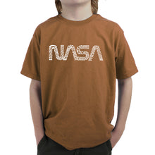Load image into Gallery viewer, LA Pop Art Boy's Word Art T-shirt - Worm Nasa