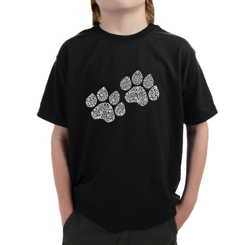 LA Pop Art  Boy's Word Art T-shirt - Woof Paw Prints