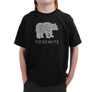 LA Pop Art Boy's Word Art T-shirt - Yosemite Bear