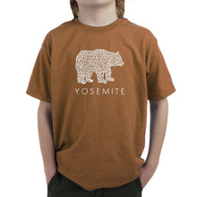 Load image into Gallery viewer, LA Pop Art Boy's Word Art T-shirt - Yosemite Bear