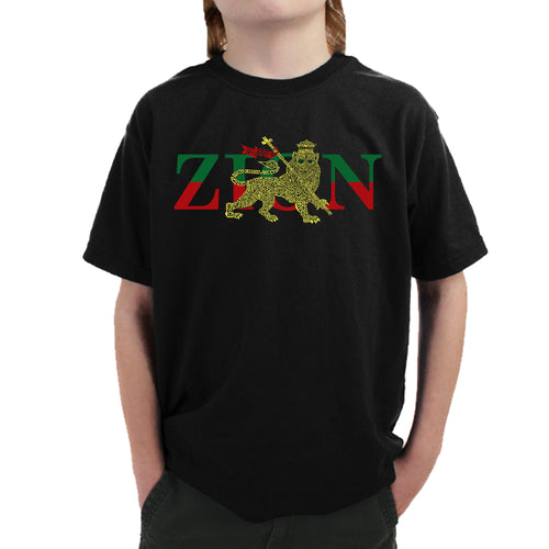 LA Pop Art Boy's Word Art T-shirt - Zion - One Love