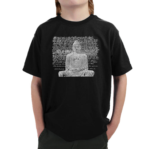 LA Pop Art Boy's Word Art T-shirt - Zen Buddha