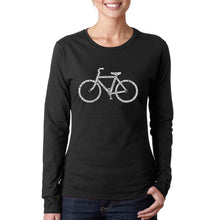 Load image into Gallery viewer, LA Pop Art Women's Word Art Long Sleeve T-Shirt - SAVE A PLANET, RIDE A BIKE