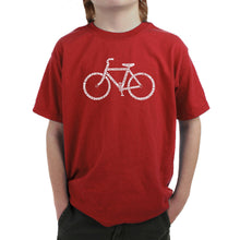 Load image into Gallery viewer, LA Pop Art Boy's Word Art T-shirt - SAVE A PLANET, RIDE A BIKE