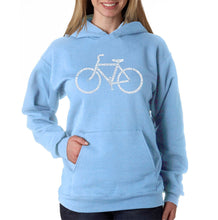 Load image into Gallery viewer, LA Pop Art Women's Word Art Hooded Sweatshirt -SAVE A PLANET, RIDE A BIKE
