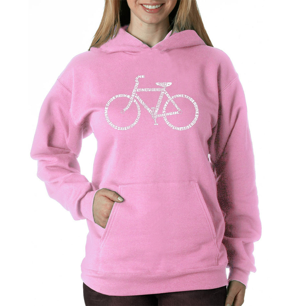 LA Pop Art Women's Word Art Hooded Sweatshirt -SAVE A PLANET, RIDE A BIKE