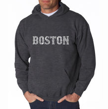 Load image into Gallery viewer, LA Pop Art Men's Word Art Hooded Sweatshirt - BOSTON NEIGHBORHOODS