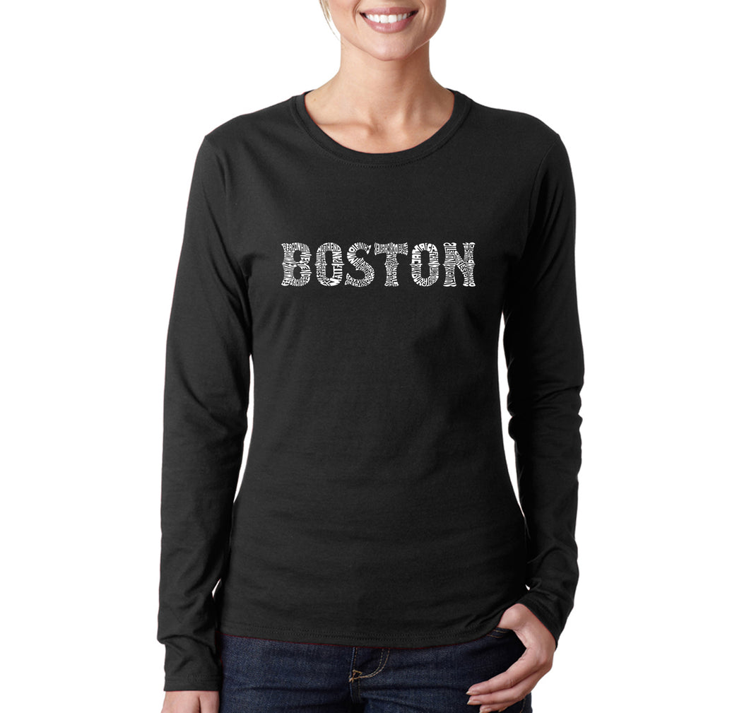 LA Pop Art Women's Word Art Long Sleeve T-Shirt - BOSTON NEIGHBORHOODS