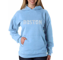 Load image into Gallery viewer, LA Pop Art Women's Word Art Hooded Sweatshirt -BOSTON NEIGHBORHOODS
