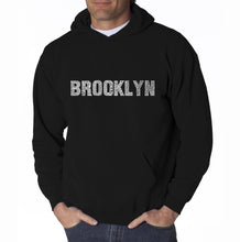Load image into Gallery viewer, LA Pop Art Men's Word Art Hooded Sweatshirt - BROOKLYN NEIGHBORHOODS