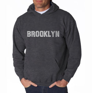 LA Pop Art Men's Word Art Hooded Sweatshirt - BROOKLYN NEIGHBORHOODS