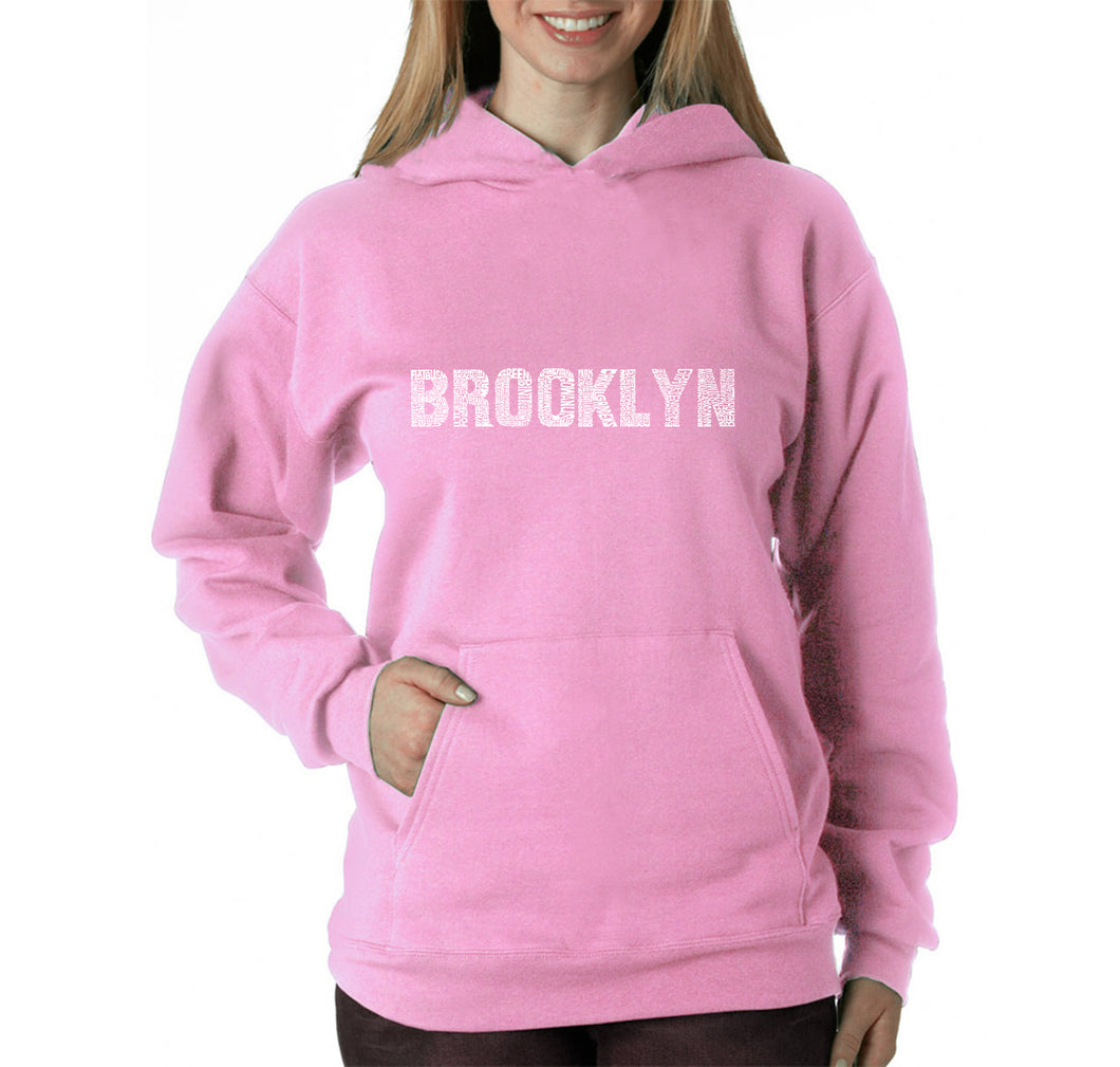 LA Pop Art Women's Word Art Hooded Sweatshirt -BROOKLYN NEIGHBORHOODS