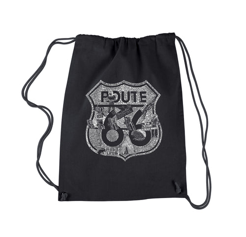 LA Pop Art Drawstring Backpack - Stops Along Route 66