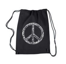 Load image into Gallery viewer, LA Pop Art Drawstring Backpack - THE WORD PEACE IN 77 LANGUAGES
