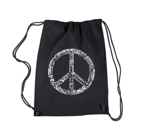 LA Pop Art Drawstring Backpack - THE WORD PEACE IN 77 LANGUAGES